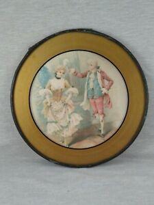 "Antique Vintage Chimney Flue Cover Glass Plate Victorian Couple 7 3/4"""