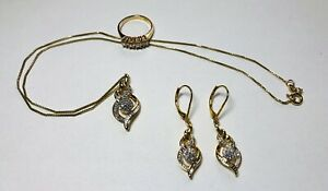 GOLD PLATED NATURAL DIAMOND CHIP EARRINGS & NECKLACE PLUS Ring (6) BR KRN