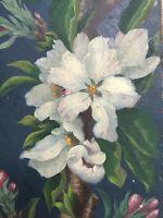 Tableau Peinture Ancienne Huile - Fleurs, Bouquet de Fleurs