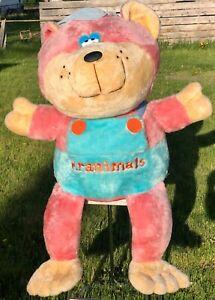 HUGE Vintage Original Kranimals Plush Pink Teal Bear Kmart Collectable 1985 RARE