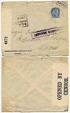 INDIA to RUSSIA 1918 SERVICE SUSPENDED + CENSOR TAPE 4872 PRINTED ENVELOPE