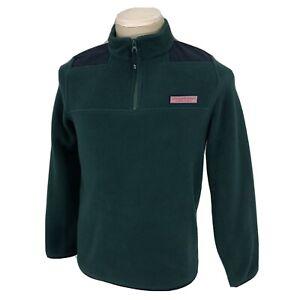 Vineyard Vines Boys Large 1/4 Zip Fleece Pullover Sweater Sweatshirt Green VGC