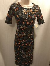 Lularoe Julia Dress XXS Black Multi Color Floral Print New 210121