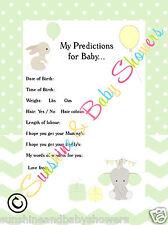 Baby Shower Juego predicciones Elephant & Bunny Verde neutral 20 Hojas Jugadores