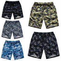 Men's Camouflage Hawaiian Casual Beach Board Swim Shorts Cool Dry w Drawstring