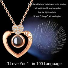 I LOVE YOU In 100 Languages Light Projection Rose Gold Pendant Necklace Gifts