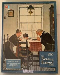 MB Norman Rockwell Family Grace 1000 Piece Textured Puzzle Complete 4868-1
