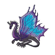 Fantasy Dragon Patch Purple Legendary Creature Blue Wings Craft Iron-On Applique