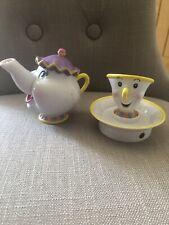 Beauty And The Beast  Disney Mrs Pots Tea Pot /and tea Cup And Muscial Saucer