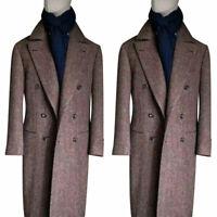 Men Brown Herringbone Wool Outwear Long Jacket Double-breasted Peak Lapel Suits