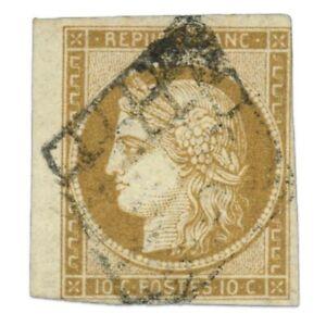 FRANCE N°1 TYPE CÉRÈS BISTRE-JAUNE, TIMBRE OBLITÉRÉ-1850