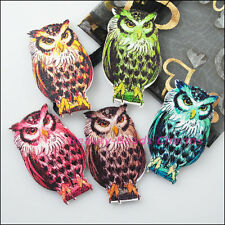 5Pcs Mixed Craft Wood Wooden Animal Owl Charms Pendants 31x52mm