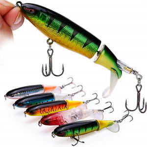 Whopper Plopper Topwater Floating Fishing Lure Rotating Crankbait Tail Up Water1