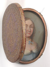 """Traveling case with oil on copper miniature portrait of a lady"", French School"