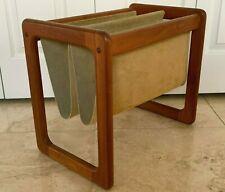 Mid Century Vintage Danish Denmark Teak Wood and Suede Magazine Rack Holder