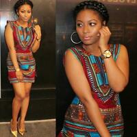 Women Casual Sleeveless Summer Dress Traditional African Print Party Mini Dress
