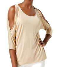 INC NEW Gold Women's Size XL Cold Shoulder Dolman Scoop Neck Blouse $59 #641