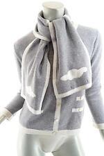 LA FEE PARISIENNE Gray 100% Cashmere Faux Cardigan Sweater+Scarf Duo - FAB -Sz 2