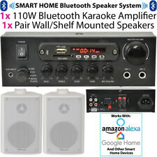 Amplificador BLUETOOTH 110 W & 2x 60 W Blanco altavoces de pared – Dormitorio Hifi Kit Inalámbrico