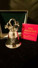 """Kirk Stieff Silverplate Musical 1992 Annual Bell Joy To The World 3 3/4""""h"""