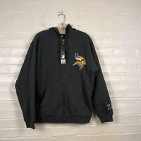 Minnesota Vikings Hoodie Men's S Gray Sherpa Lined Warm Zip Up Sweatshirt NWT