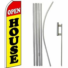 Open House Red / Yellow / Black Swooper Flag & 16ft Flagpole Kit/Ground Spike