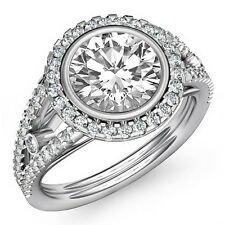 Round Diamond Engagement GIA F SI1 Platinum Halo U Cut Shared Prong Ring 1.8ct
