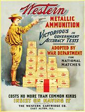 Vintage Ammunition Poster Western Metallic 13 x 17 Giclee Print