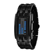 LUXURY Men Blue Binary Luminous LED Electronic Display Waterproof Wrist Watch