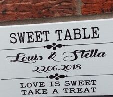 Wedding Signs Sweet table personalised  free standing shabby vintage chic