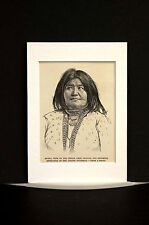 Portrait HUERA Wife of APACHE INDIAN CHIEF MANGUS #2 1886 Antique Print Matted