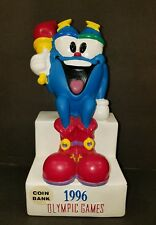 """Vintage Collectible 1996 Olympic Games Coin Bank Mascot Izzy Vinyl 8"""""""