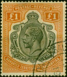 Tanganyika 1927 £1 Brown-Orange SG107 Good Used
