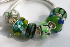 6 x Beads Sterlingsilber und Glasperle *** AUS ECHTEM SILBER und Glas, grün