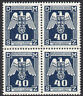 GERMANY 3rd REICH Occs BOHEMIA & MORAVIA 1943 NAZI Official 40h MNH Block of 4