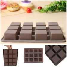 12 Square Cavity Cake Chocolate Jelly Ice Cube Soap Silicone Mould Mold Tool LG