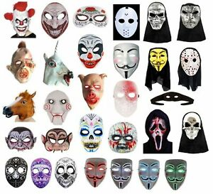 SCARY HALLOWEEN MASKS Fancy Dress Accessory Clown Evil Horror Scary Mask Lot