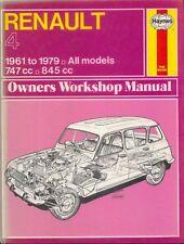 RENAULT 4 tutti i modelli 747cc & 848cc 1961-1979 Haynes Officina Proprietari Manuale