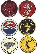 6x Game of Thrones Wappen Logo - Uniform Patch Aufnäher Set 6 Stück neu