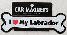 """Dog Magnetic Car Decal, Bone Shaped, I Love My Labrador, Made in USA - 7"""""""