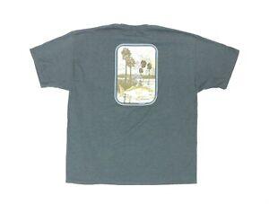 "Guy Harvey Men 2XL 50"" Pocket T Shirt Gray Cotton Blend Original Fish Back 2018"