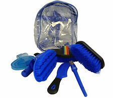 Horse Grooming Kit Set 8 Pieces Barn Stable Supply Brushes Comb Hoof Pick Blue