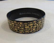 Signed STEINBOCK WIEN Modernist Black Enamel 24K Gold Abstract Bangle Bracelet