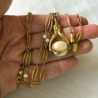 """1928 Brand Filigree Faux Pearl Long Swivel Spinner Spinning Pendant Necklace 28"""""""