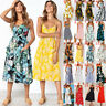 Summer Women Floral Sundress Strappy Ladies Cami Swing Casual Holiday Midi Dress