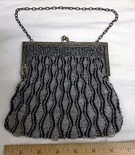 1920s ART DECO METAL FRAME MICRO BLACK CRYSTAL BEAD FLAPPER PURSE EVENING BAG