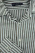 Daniel Cremieux Hombre Azul&Blanco Algodón de Rayas Camisa Informal L GRANDE