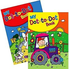 2 x A4 CHILDRENS KIDS DOT TO DOT ACTIVITY FUN BOOKS DRAWING FARMER FAIRY