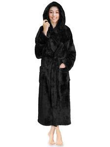 Womens Ladies Fluffy Robe Soft Fleece Luxe Plush Warm Sherpa Hooded Spa Bathrobe
