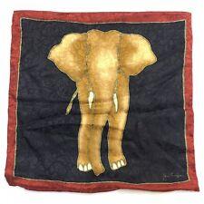 "Jim Thompson Elephant Pillow Cover Thai Silk Gold Red Blue Reversible 15"" Square"